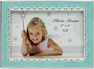 L&T Aqua Blue Enamel Picture / Photo Frame Metal with Silver Plated and Crystals 4 x 6 Inch