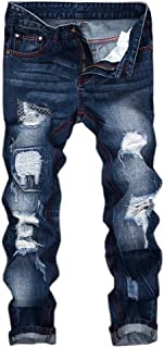 Creazrise Men's Ripped Distressed Destroyed Straight Fit Washed Denim Jeans (Green,XL)