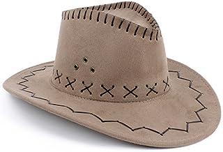 NYKKOLA Western Authentic Gunslinger Hat Suede Cowboy Hat Unisex (khaki)