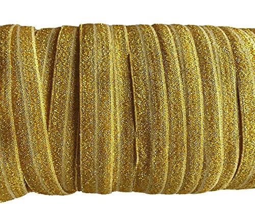 YYCRAFT 5/8' 15 Yards Glitter Fold Over Elastic Stretch Foldover FOE Elastics for Hair Ties Headbands (Gold)