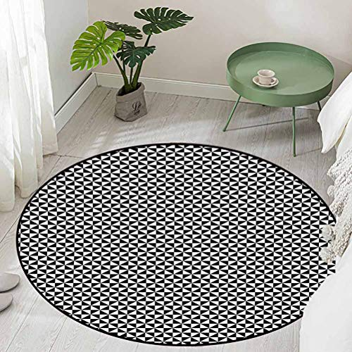 Round Floor Entrance Rug Two Toned Triangles Forming Squares Contemporary Contrast Abstract Motif Diameter 72 inch Outdoor Rugs for patios