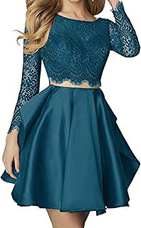 Women's 2019 Two Pieces Long Sleeve Short Prom Homecoming Dresses