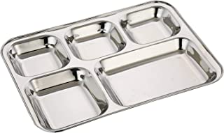 WhopperIndia Heavy Duty Stainless Steel Rectangle/Square Deep Dinner Plate w/5 Sections Divided Mess Trays for Kids Lunch,...