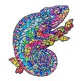 Puzzle in Legno Pezzi di Puzzle dalla Forma Unica Miglior Regalo per Adulti e Bambini, A4 (Chameleon)