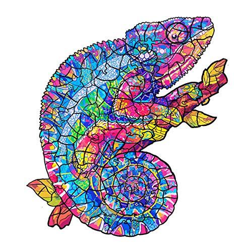 Holzpuzzle Tier Wooden Jigsaw Puzzle, Baustein Puzzle Spielzeug fur Erwachsene Und Kinder, Ideal Für Die Familienspiel Sammlung (Chameleon)