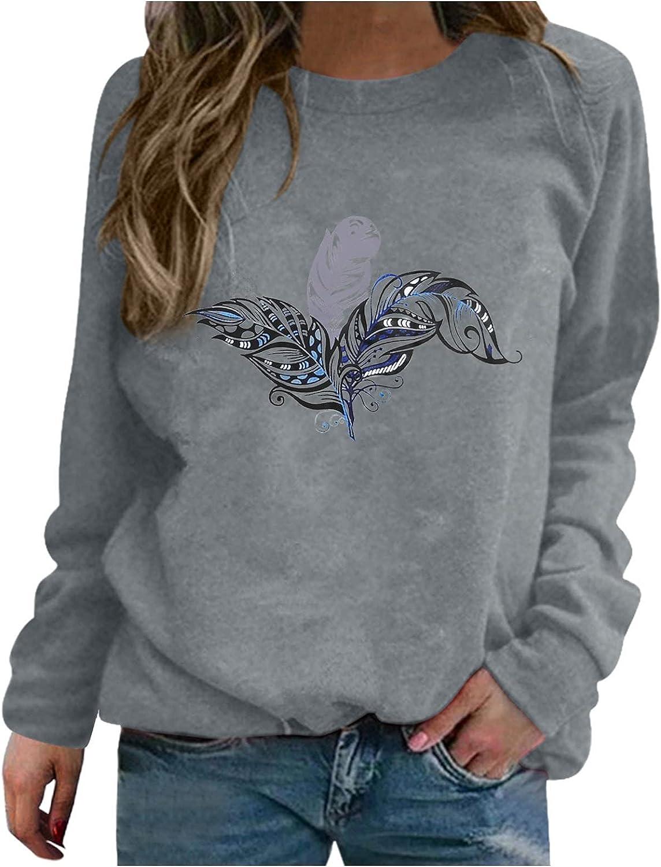 Crewneck Sweatshirt for Women Womens Oversized Blouse Shirts Lightweight Novelty Pullover Soft Long Sleeve Tops