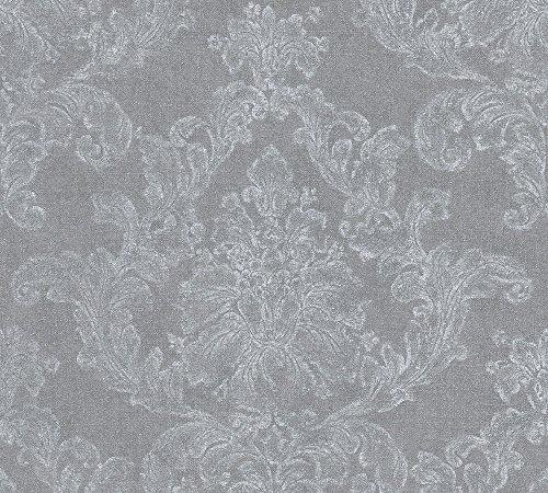 A.S. Création Vliestapete Elegance Tapete neo barock 10,05 m x 0,53 m grau weiß Made in Germany 305184 30518-4