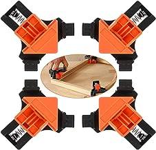 Baoniansoo Abrazadera Esquina 90 Grados, 4 Clips fijación ángulo Recto PCS, Herramienta Manual Marco Imagen giratoria Ajustable multifunción, para soldar cajones perforación carpintería