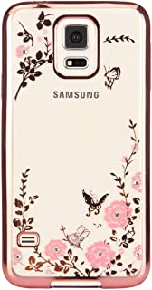 FDTCYDS Luxury Stylish Design Electroplated Slim Fit Lightweight Ultra Thin Metallic Luster TPU Case Cover for Samsung Galaxy S5 SV i9600 - Flower Rose Gold