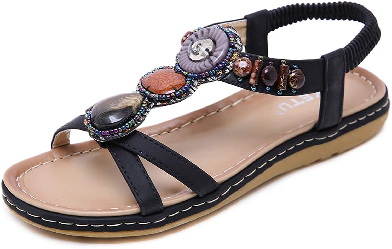 AGOWOO Big Girls Vintage Beaded Flat Beach Sandals Slip On Sling Back Sandle