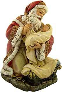Adoring Kneeling Santa Holding Infant Jesus Painted Resin Christmas Statue, 7 Inch