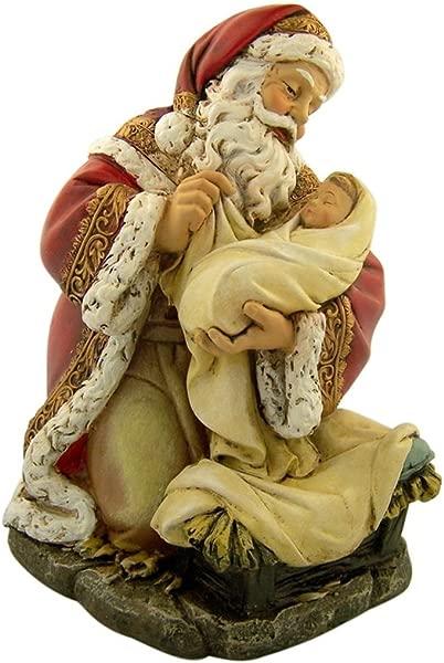 Adoring Kneeling Santa Holding Infant Jesus Painted Resin Christmas Statue 7 Inch