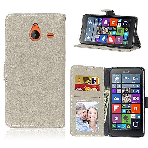 BgkjZX Cover Nokia Microsoft Lumia 640XL - per Nokia Microsoft Lumia 640XL Custodia in Pelle Opaca,Custodia per Cellulare con Flip Card Anti-Caduta - Grigio