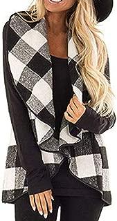 Howely Women's Poncho Waistcoat Wool Blend Plaid Classic Cardigan Vest