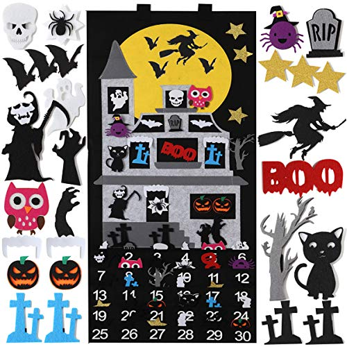 C L COOPER LIFE Halloween Advent Calendar 2019, 30 Wall Decorations Halloween Days Countdown Calendar with 30pcs Detachable Ghosts Pumpkin Cats Owls Bat Owl Spider Cartoon Skulls Decorations