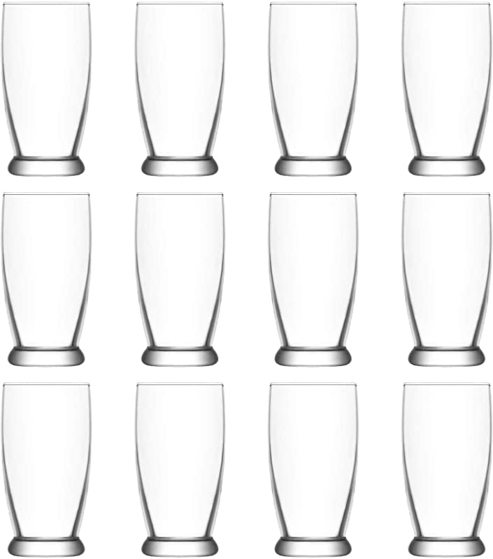 LAV Roma Glass Water Glasses Set Contemporary Tumblers For Juice Cocktails 140ml Pack Of 12