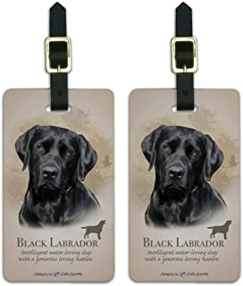 Black Lab Labrador Dog Breed Luggage ID Tags Suitcase Carry-On Cards - Set of 2