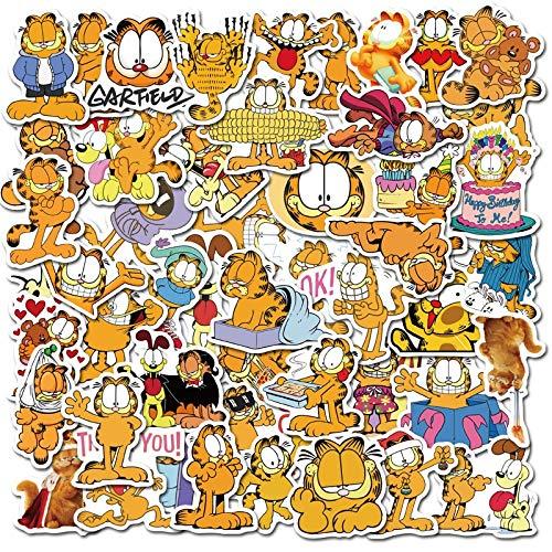 LVLUO Pegatina de Garfield, Pegatina de Dibujos Animados, Pegatina de Anime para Equipaje DIY, portátil, Scooter, Motocicleta, Pegatina para Bicicleta, 50 Uds.