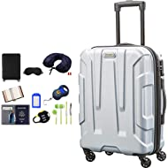 92794-1776 Centric Hardside 20 Carry-On Luggage Spinner - Silver Bundle w/Deco Gear Luggage...