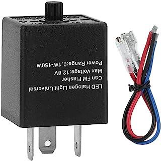 Aramox LED Blinkrelais, 12 V/24 V 3polig Einstellbares LED Blinkrelais, Blinkerleuchte für Kfz Motorräder
