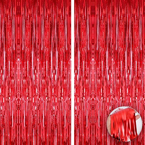 Xtra Large, Red Foil Fringe Curtain - 3.2 x 10 Feet | Pack of 2 | Red Metallic Curtains for Birthday Parties | Tinsel Foil Backdrop Curtain Streamers for Valentines Day, Bachelorette, New Years Eve