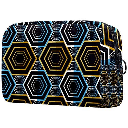 Kosmetiktasche für Make-up-Pinsel, tragbar, für Damen, Handtasche/Kosmetiktasche, Reise-Organizer, dunkle Farbe, geometrisch, sechseckig, Rhombus