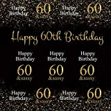 Baocicco 6x6ft Happy Birthday Backdrop 60th Birthday Party 60&Sassy Golden Number 60 Shiny Stars Photography Background Birthday Party Old Ladies Grandmother Portrait Studio Video Prop