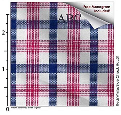 Red/White/Blue Check #cc31, 100% Cotton, Men's Monogrammed Custom Tailored Dress Shirt