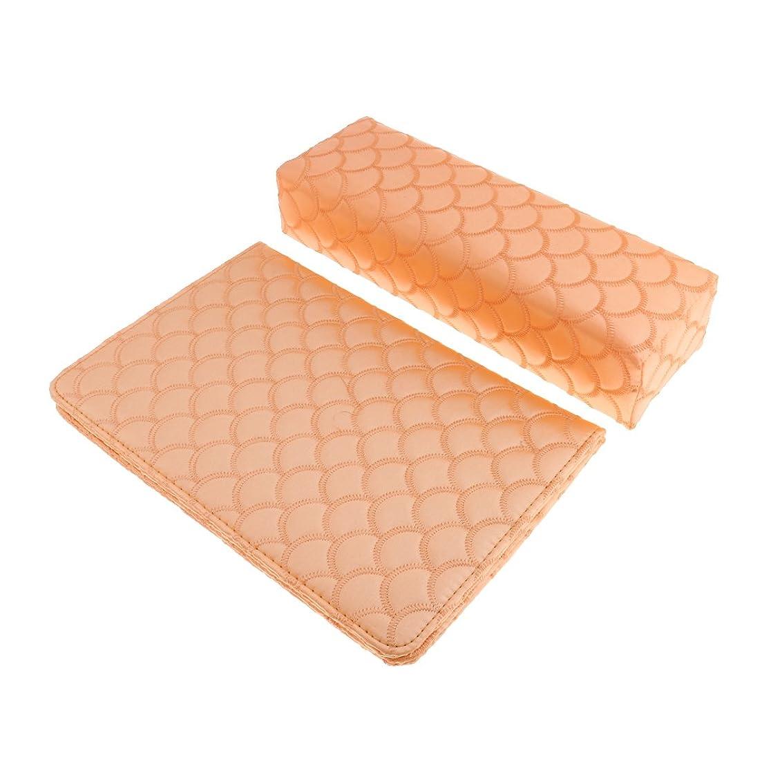 基準発疹クリップBaosity ネイルピローパッド ネイルアート ハンドピロー ハンドクッション 高品質 サテン 多色選べる - オレンジ