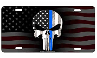 ATD The Punisher Thin Blue Line on American Flag Background Police Novelty Front License Plate Decorative Vanity Aluminum Sign Car Tag