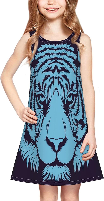 Cool Tiger Girl Sleeveless Dress,Tiger Head Forest Animal Black Casual Crew Neck Girls Sundress 2-6 Years