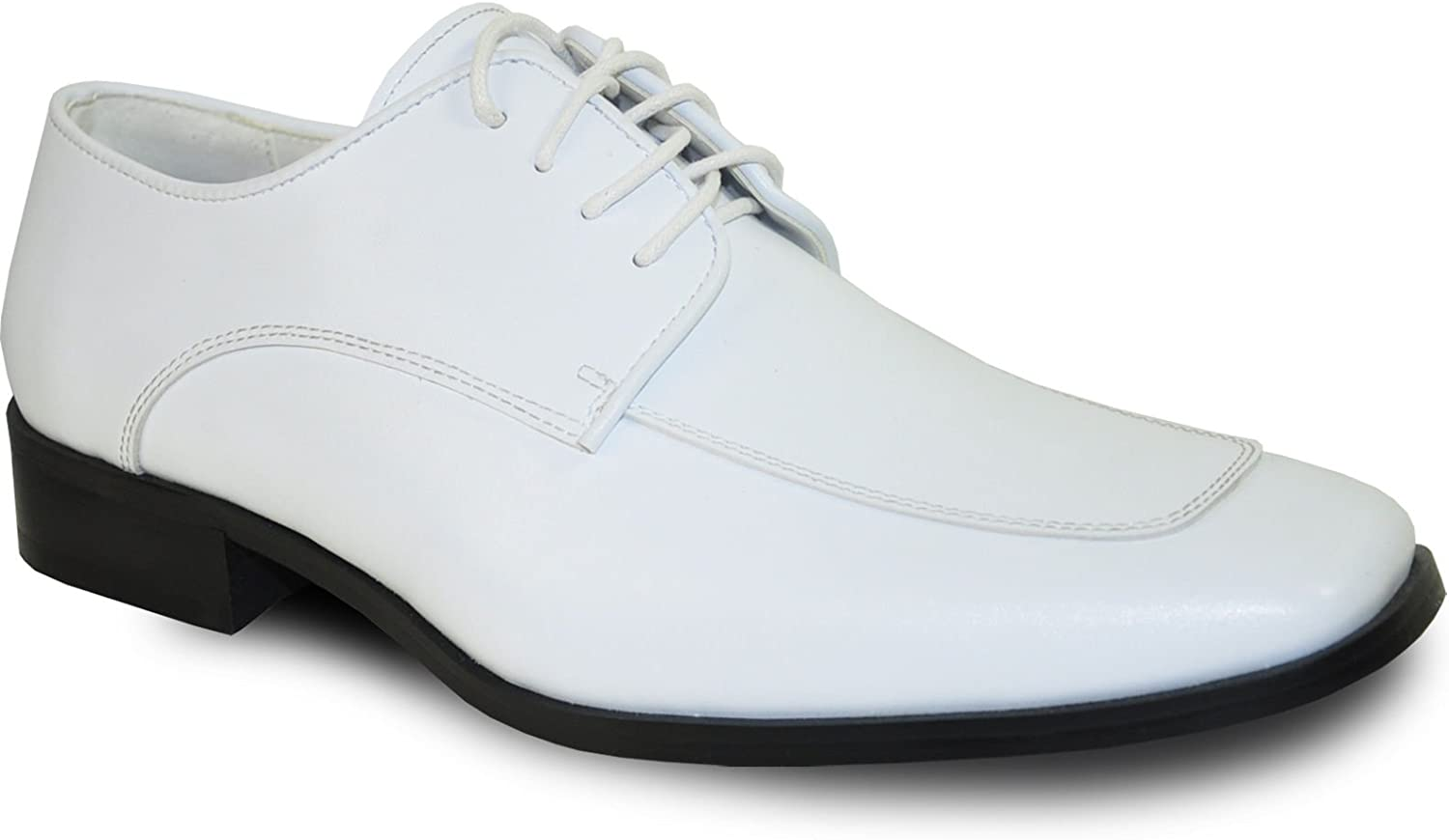 Bravo Vangelo Men's Tuxedo shoes Tux-3 Fashion Square Toe with Wrinkle Free Material White Matte