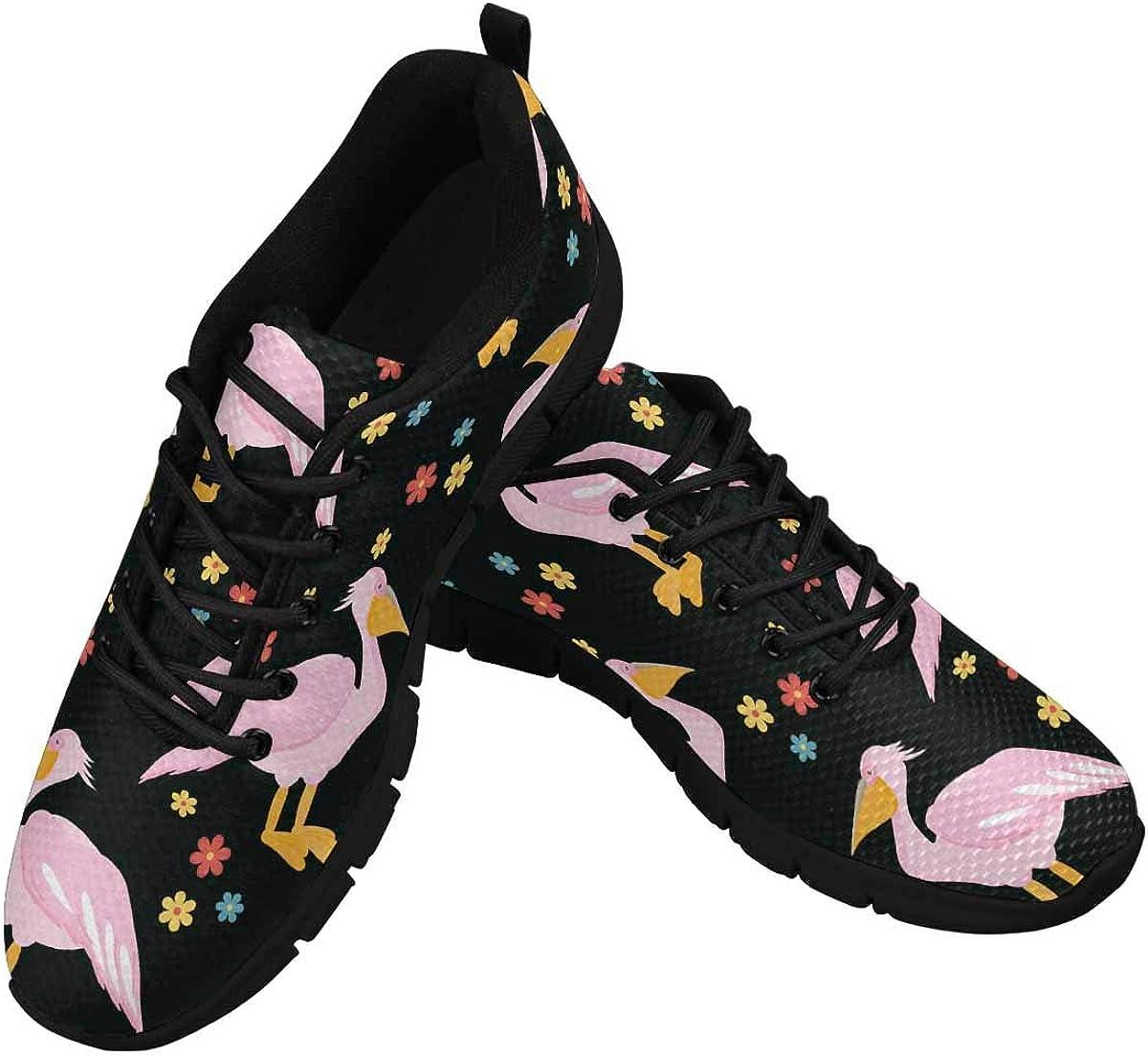 INTERESTPRINT Bird Andflowers Lightweight Mesh Breathable Sneakers for Women