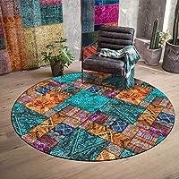 エリア敷物、丸いカーペットボヘミアスプライシングカーペット滑り止めジムプレイマット室内の寝室のための家の装飾の汚れの抵抗力のある床のカーペット,グリーン,diameter 140cm