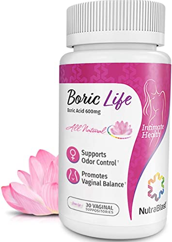 NutraBlast Boric Acid Vaginal Suppositories - 30 Count, 600mg - 100% Pure Made in USA - Boric Life Intimate Health Su...