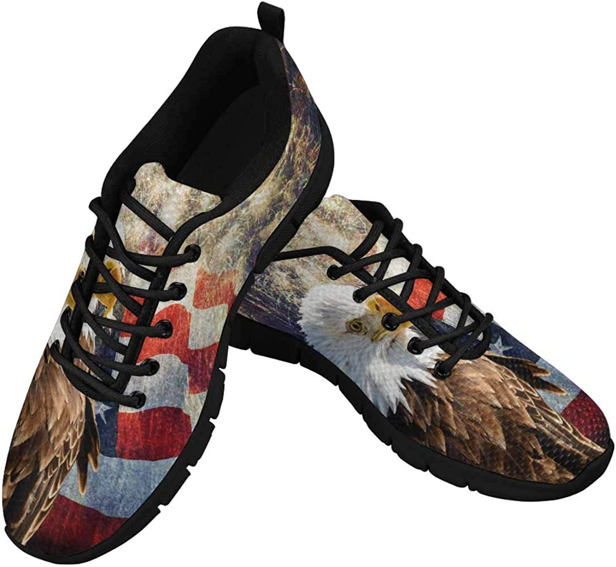InterestPrint Bald Eagle with USA Flag Women's Walking Shoes Lightweight Casual Running Sneakers