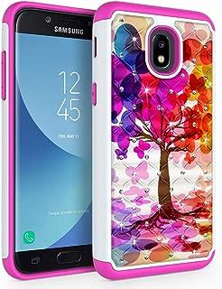 Case for Samsung Galaxy J3 2018 / J3 V 3rd Gen / J3V 2018 / J3 Orbit / J3 Star / J3 Achieve/Express Prime 3 / Amp Prime 3 / Sol 3 / J3 Aura, SYONER [Rhinestone Bling] Phone Case Cover [Tree]