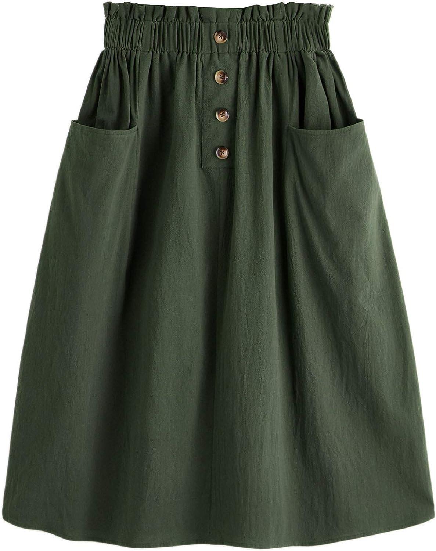 SweatyRocks Women's Casual Paper Bag Waist A Line Pleated Midi Skirt with Pockets