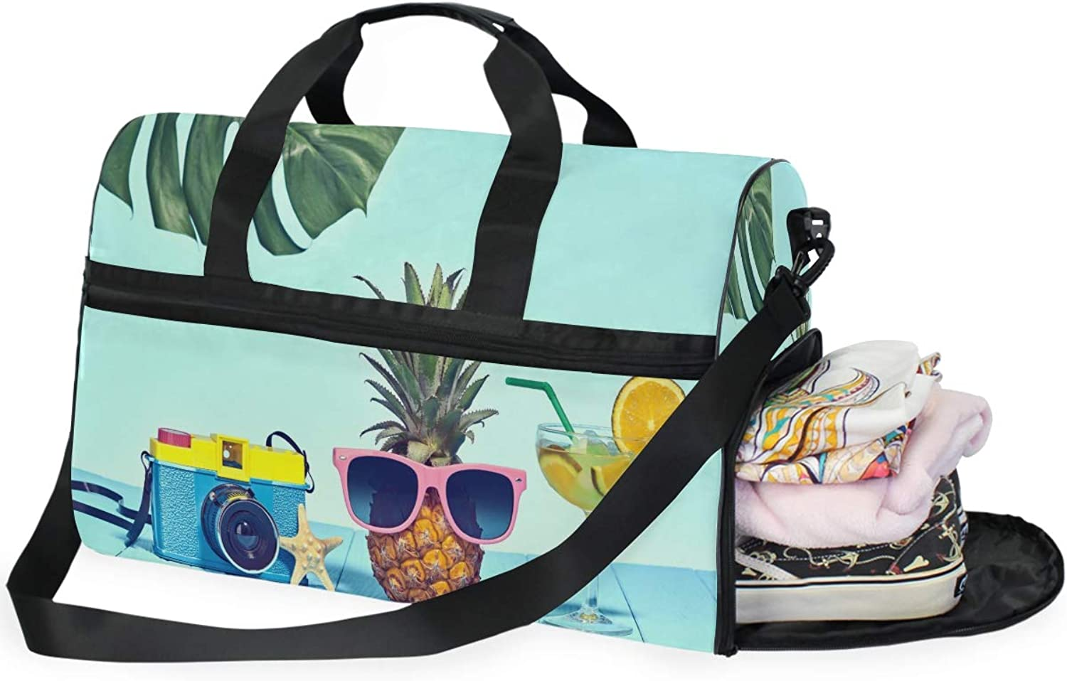 34e8ceaeea91 Hipster Pineapple Sports Gym Bag with shoes Compartment Duffel Bag ...