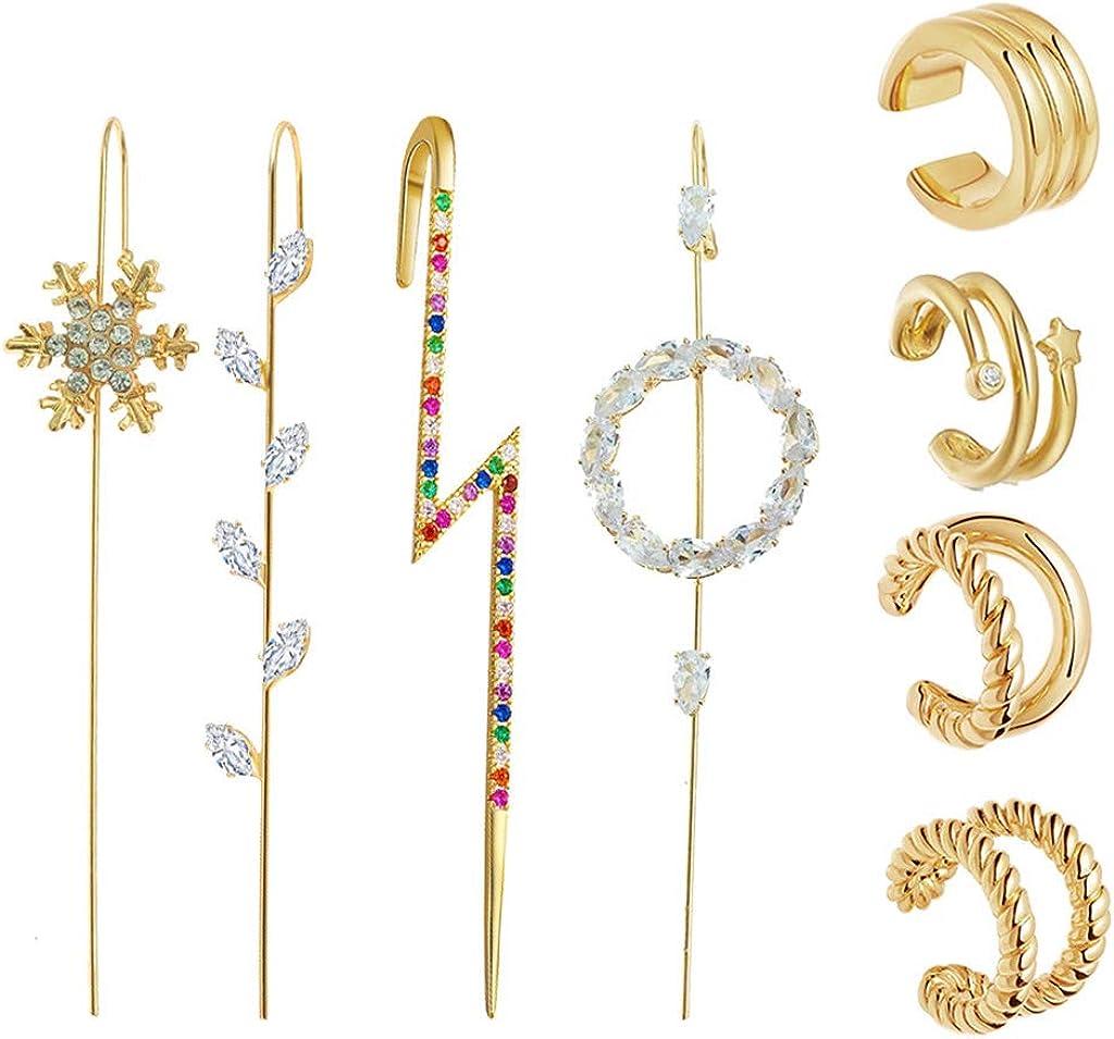 Golden Ear Cuff Wrap Crawler Hook Earrings Kit Rhinestone Piercing Stud Earrings