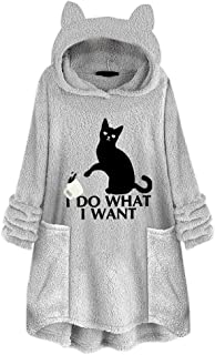 Women's I Do What I Want Letter Hoodie Fuzzy Casual Loose Oversized Sweatshirt Hooded with Pockets