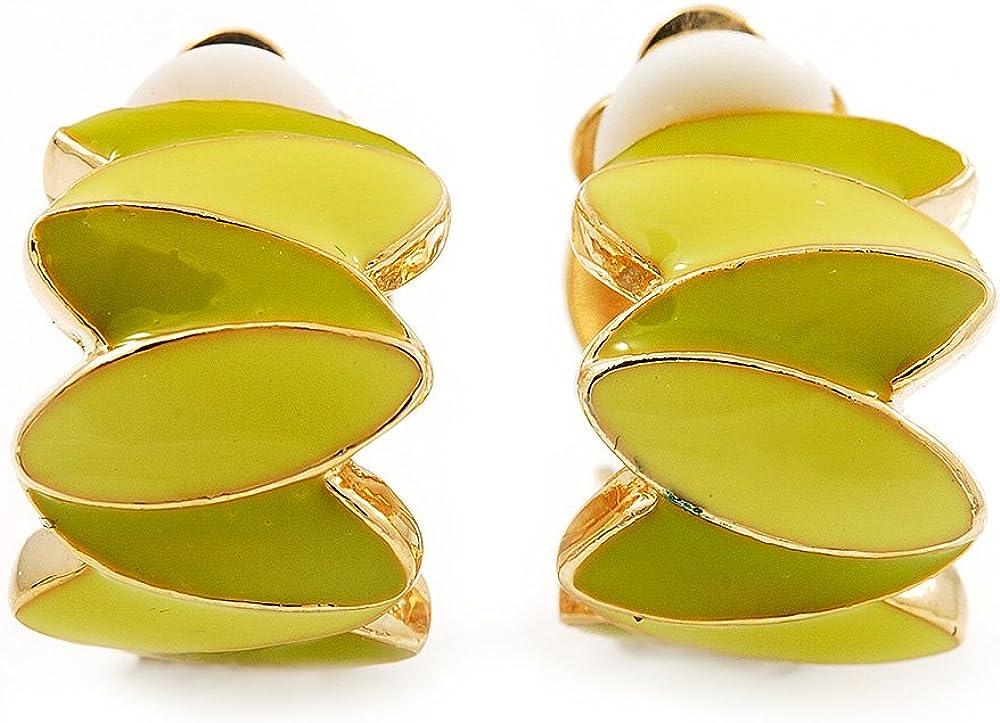 Small C-Shape Lettuce Green Enamel Clip On Earring In Gold Plated Metal