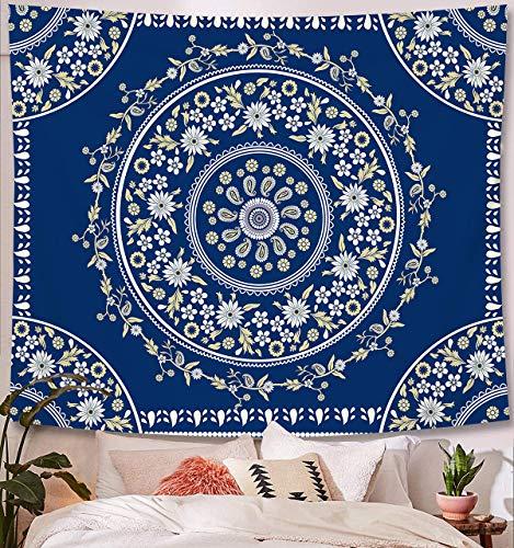 Zodight Tapiz de Pared Azul, Tapices Mandala Tapices Indios Hechos a Mano, Tapiz Psicodélico Bohemio con Patrón Floral, para Dormitorio, Salón, Toalla de Playa, Yoga, Alfombra Picnic