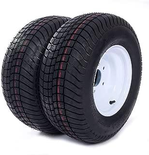 20.5x8.0-10 LRC Loadstar Bias Trailer Tires on 5 Lug White Wheels 205/65-10 Set of 2