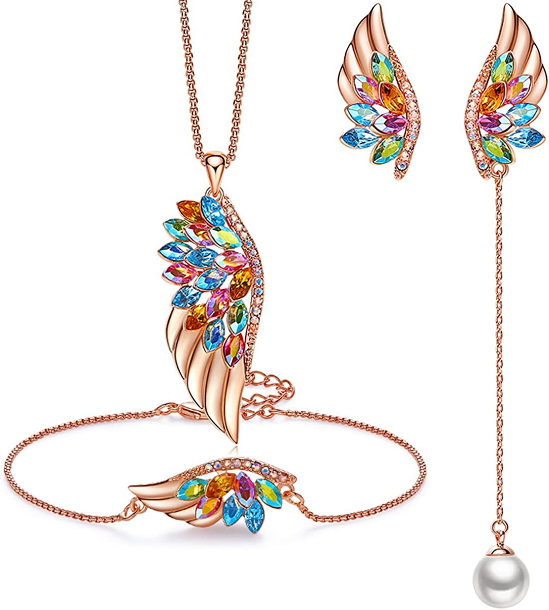 EONFUN Rose Gold Angel Wing Jewelry Sets for Women Crystal Jewelry Gifts for Her Birthday Anniversary