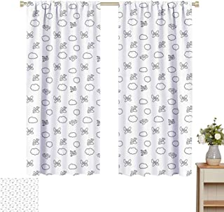 June Gissing Airplane Curtains for Living Room Childish Boys Pattern with Little Aeroplanes and Puffy Clouds in Doodle Style Curtain Backdrop W52 x L63 Black White