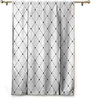 DONEECKL Cartoon Roman Curtain Fleur De Lis Decor Shabby Chic Damask Pattern with Vintage Kitsch Geometric Diamond Lines Thermal Insulated Block Out Sunlight Shade W27 xL64 Black White