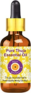 Deve Herbes Pure Thuja Essential Oil (Thuja occidentalis) with Glass Dropper 100% Natural Therapeutic Grade Steam Distille...