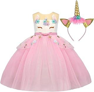 f2f9ddb9375 TTYAOVO Filles Licorne Fantaisie Princesse Robe Enfants Fleur Pageant Robe  De Soirée sans Manches À Volants
