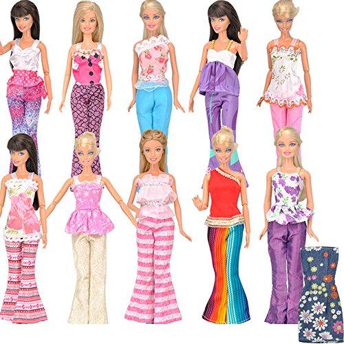 E-TING Ensembles De 5 5 Vêtements Tenue 5 Pantalons et 10 Shoes Pantalons pour PoupéE Barbie Hasard Style